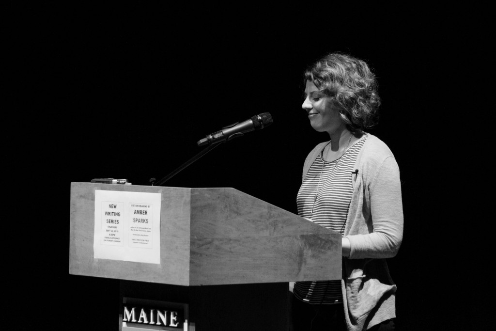Amber Sparks reads from her book of short stories, The Unfinished World, for the New Writing Series on Thursday. Photo by Maggie Gautrau, Photo Editor.