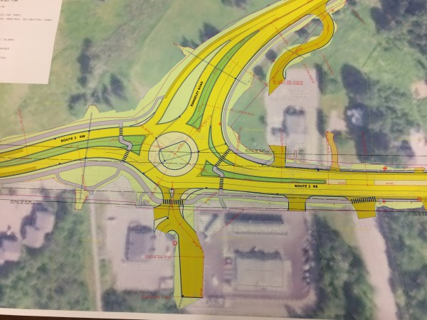 ORONO, Maine -- (10/25/2016) -- A map of the Maine Department of Transportation's planned roundabout at the junction of Route 2 and University of Maine's Rangeley Road can be seen during a public hearing on the project on Tuesday in Orono. Nok-Noi Ricker | BDN
